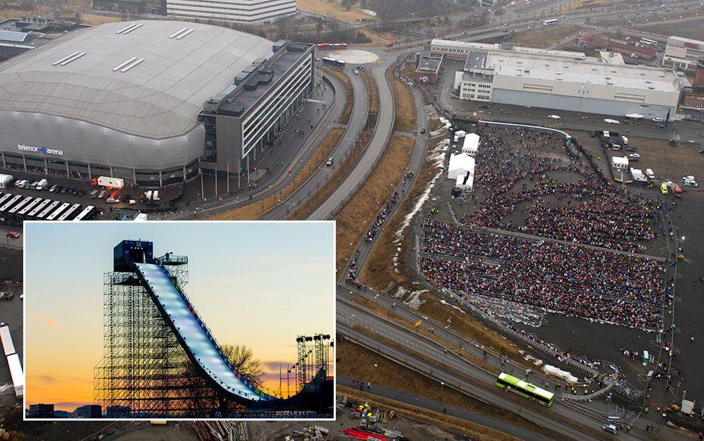 STORE PLANER: Her, rett utenfor Telenor Arena, vil X Games' norske sjef bygge et massivt hopp slik de hadde under Big Air-konkurransen i Tøyenparken i 2016 (innfelt).