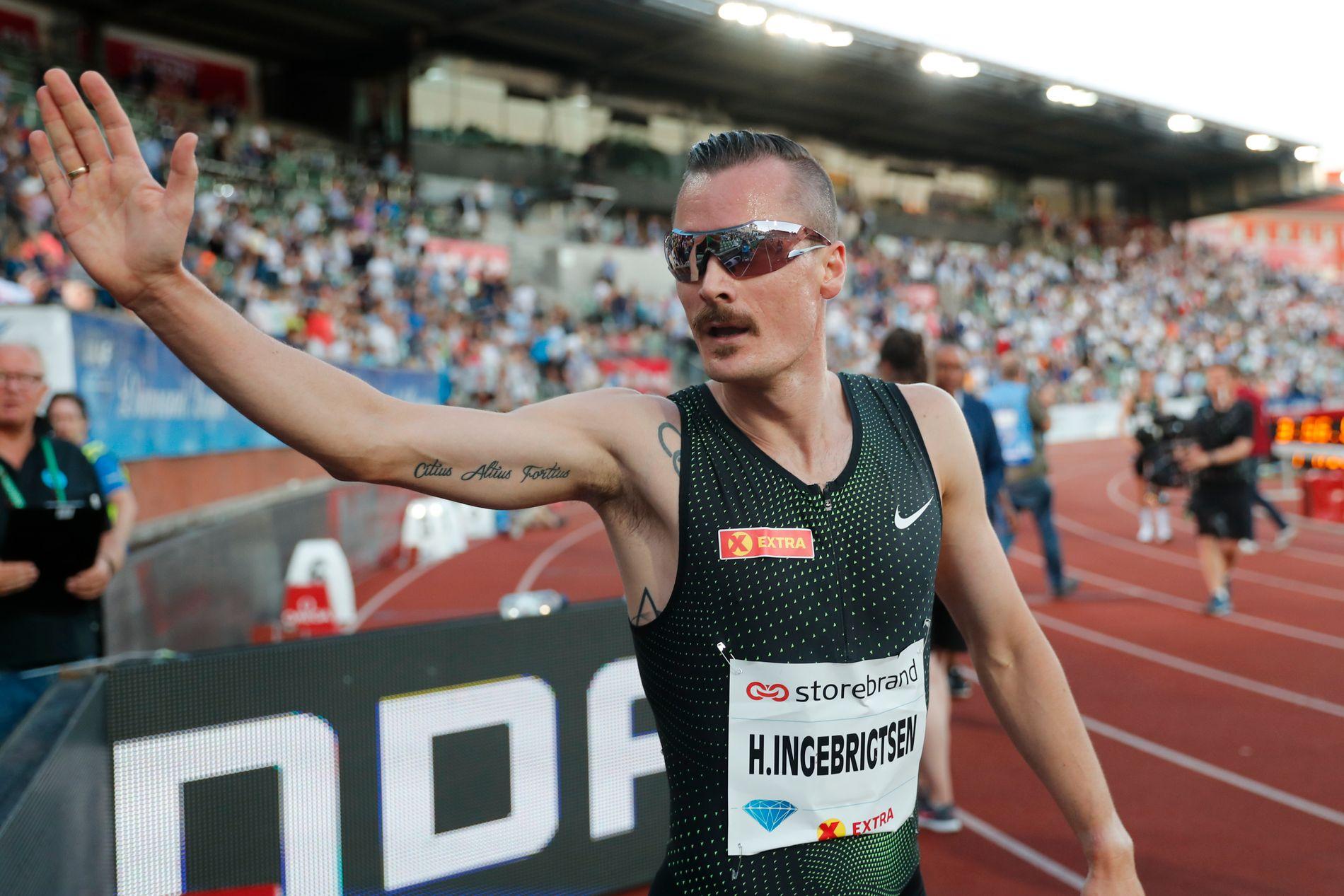 LENGTER: Henrik Ingebrigtsen (27) innehar årsbeste på 5000 meter i Europa, men har et stykke igjen når det gjelder akseptabelt nivå på favorittdistansen 1500 meter. Bildet er fra etter mile-løpet på Bislett 7. juni: 4. plass med 3.57,97.