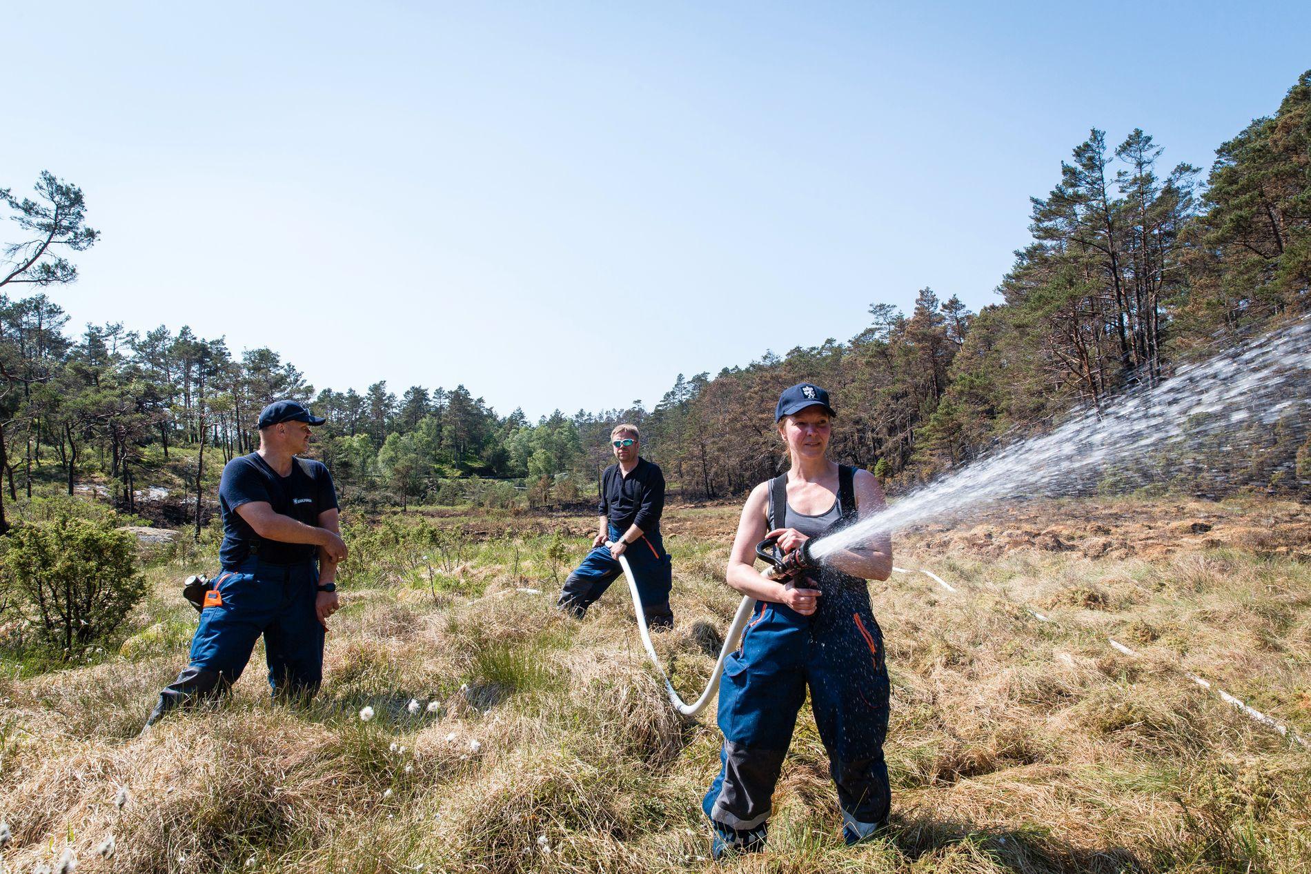 STOR JOBB:  Brannmannskap, sivilforsvar og frivillige har jobbet døgnet rundt for å slukke skogbrannen på Ombo i Rogaland.