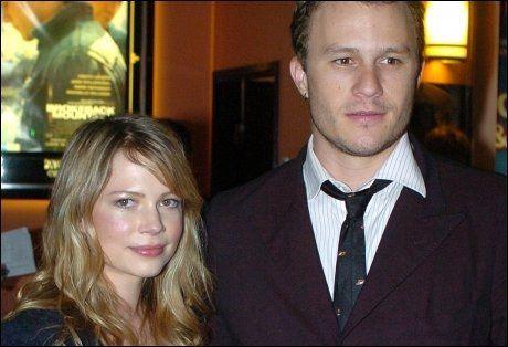 FILMPAR: Michelle Williams og Heath Ledger, her fra 2006, ble forelsket på settet til «Brokeback Mountain». Begge ble Oscar-nominert for sine roller i filmen. Foto: AP.