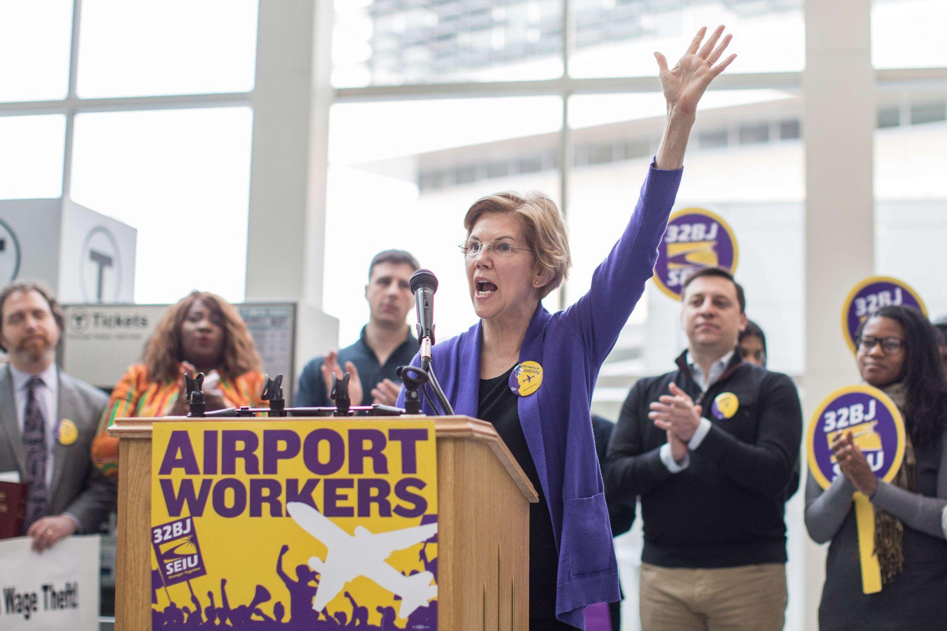 «SHUTDOWN»: Elizabeth Warren engasjerte seg for flyplassansatte under president Trumps rekordlange delvise stengning av statsapparatet tidligere i år.