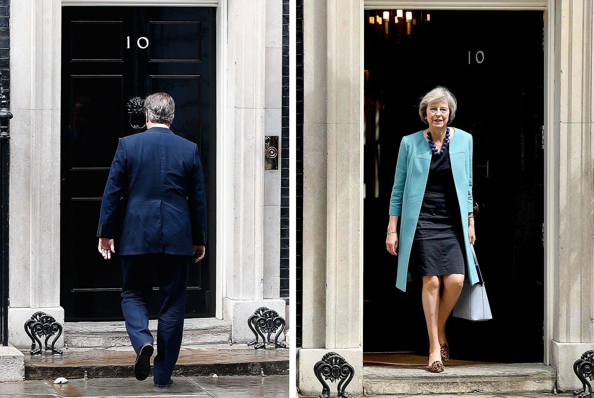 SKIFTE: David Cameron (t.v) går av allerede onsdag. Etterfølgeren blir Theresa May (t.h).