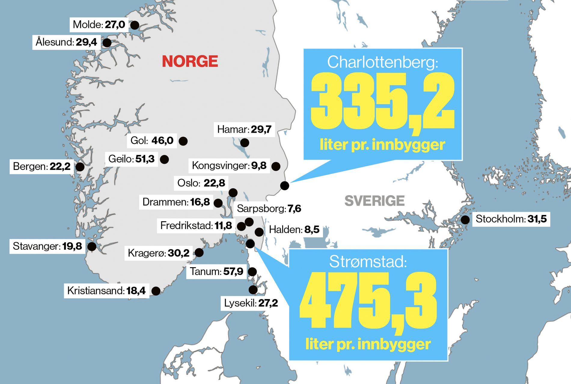 kart charlottenberg sverige Enorm forskjell i alkoholsalget – ber politikerne ta grep om  kart charlottenberg sverige