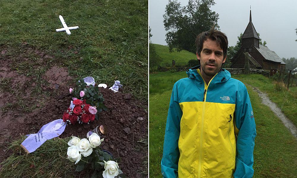 SINT: Sindre Hansen (32) fra Fusa foran kirken hvor gravskjendingen skjedde, blant annet på nevøens grav.