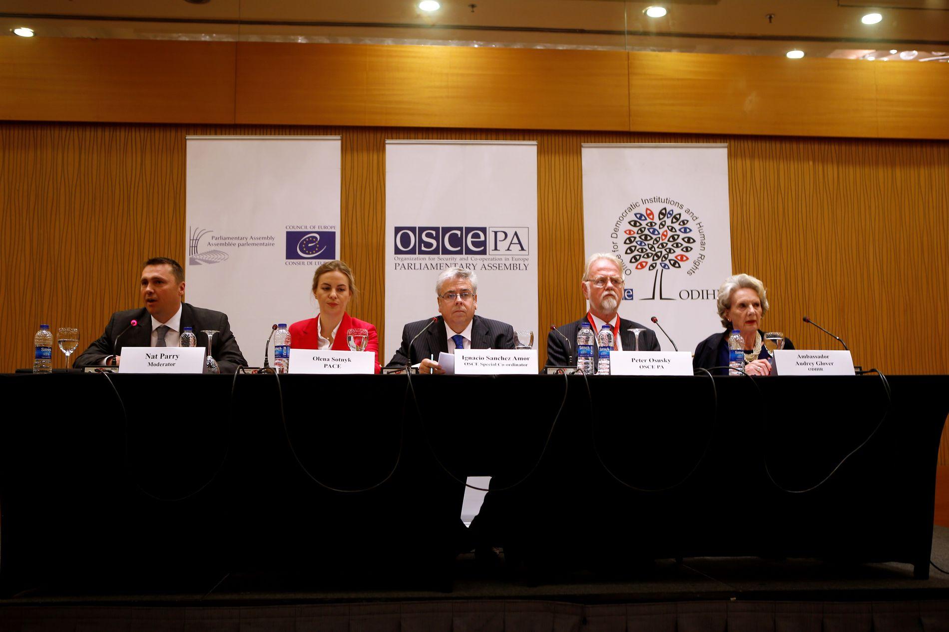 OVERVÅKET VALGET: Representanter fra OSSE og Europarådets parlamentarikerforsamling la frem en krass rapport om Tyrkia-valget under en pressekonferanse i Ankara mandag.