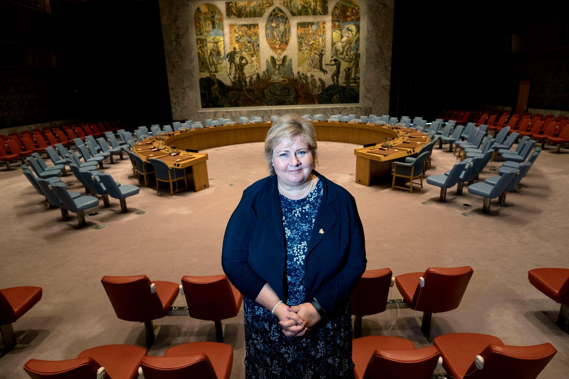 VIL INN: Statsminister Erna Solberg fotografert i FNs sikkerhetsråd i fjor.