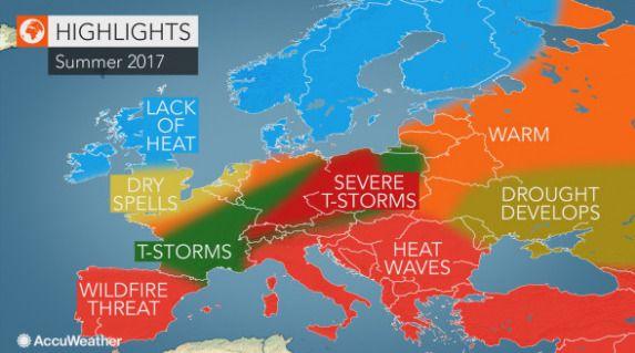 DRAMATISK SOMMER? Kaldt i nord, men tørke, skogbranner og tordenstormer sørover i Europa, melder amerikanske AccuWeather.