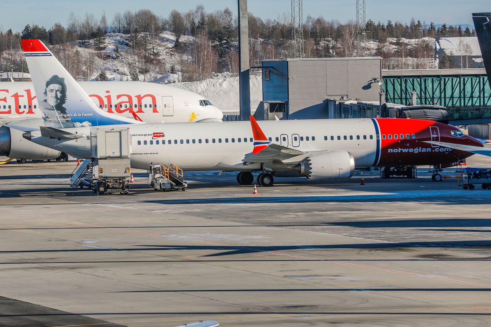 PÅ BAKKEN: Norwegian har satt alle sine 18 Boeing 737 MAX 8-fly på bakken inntil videre. Totalt har selskapet bestilt 110 slike fly.
