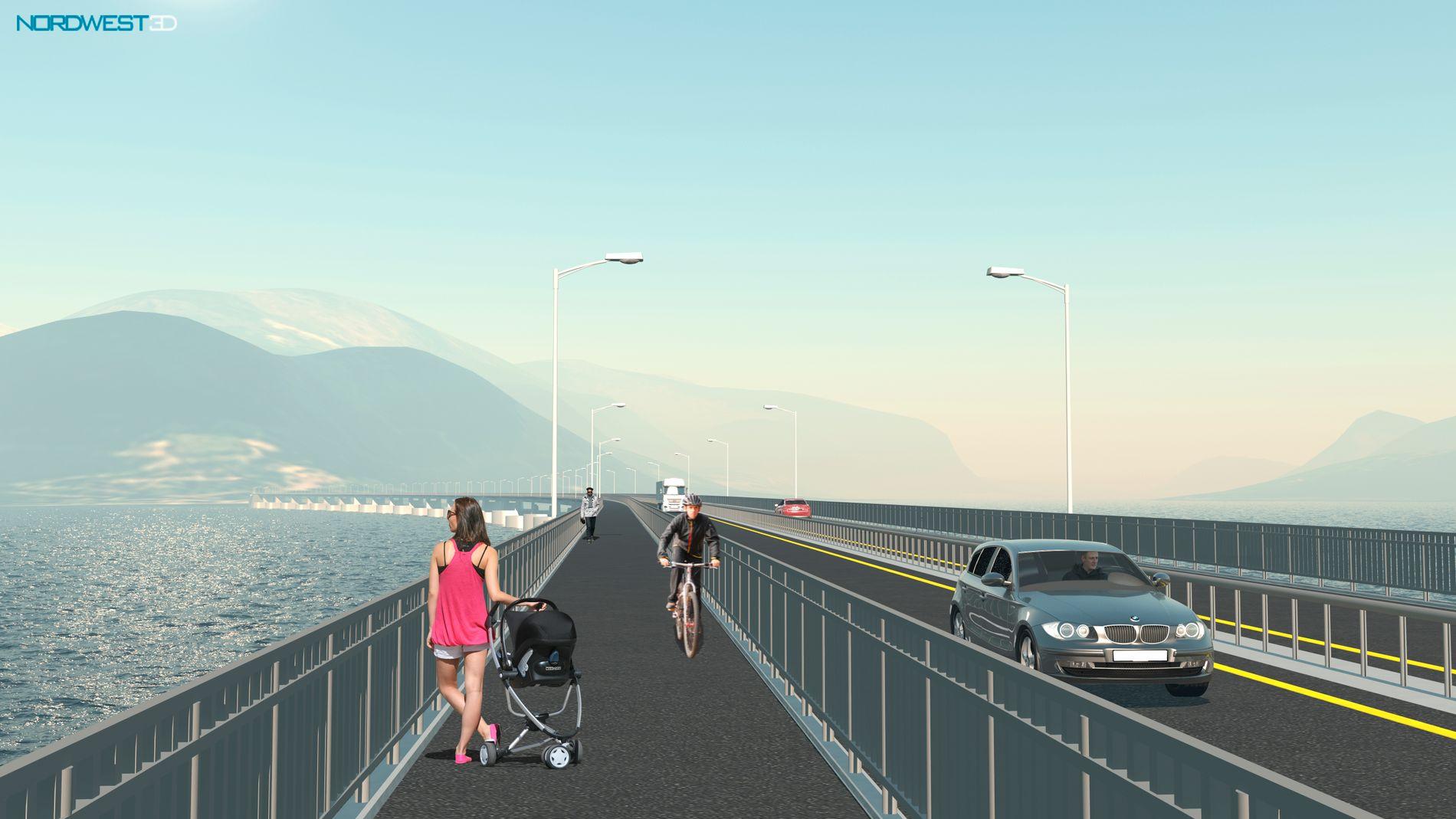 FLYTENDE BRO: Romsdalsfjorden mellom Ålesund og Molde kan krysses ved hjelp av en tre kilometer lang flytende bro, og det blir rimeligere, flottere og bedre for alle, mener forkjemperne for Romsdalsaksen.