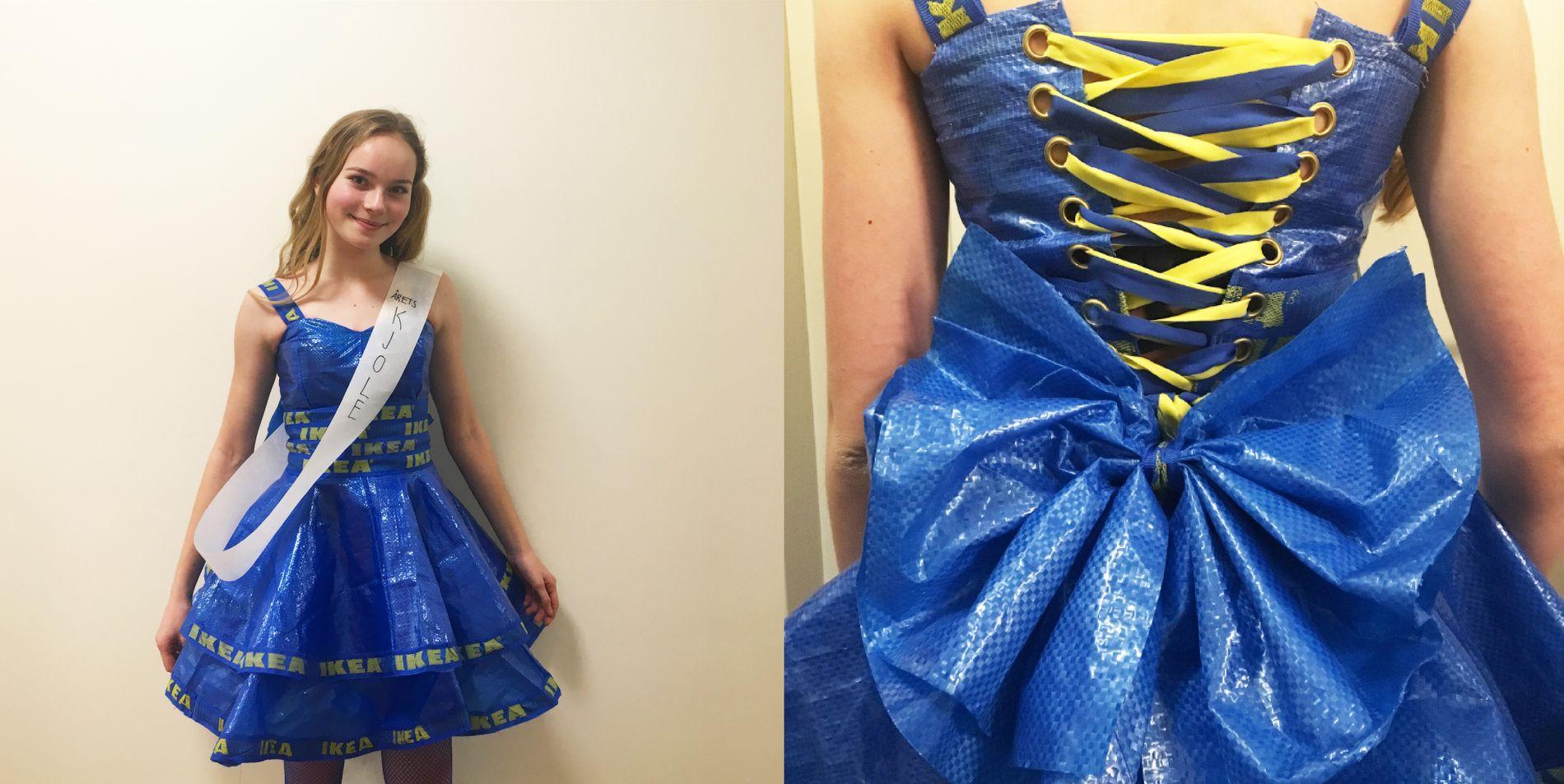 «ÅRETS KJOLE»: Amalie Driverklepp elsker å sy og sydde sin egen ballkjole av Ikea-poser. Kjolen ble kåret til «årets kjole» på skolens nyttårsball.