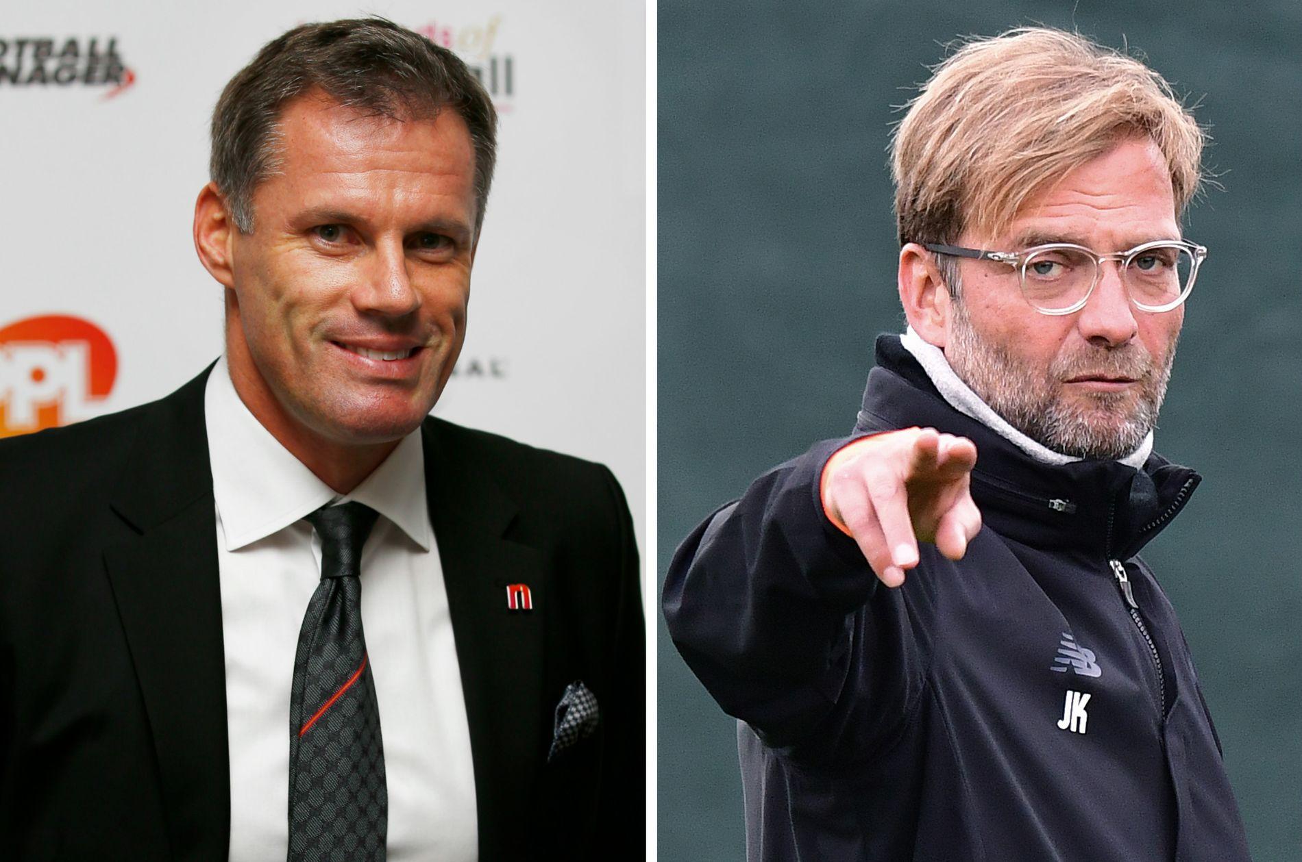 SKEPTISK: Klubblegenden Jamie Carragher (t.v.) roser jobben til Jürgen Klopp i Liverpool, men tror laget er sjanseløst i Champions League.