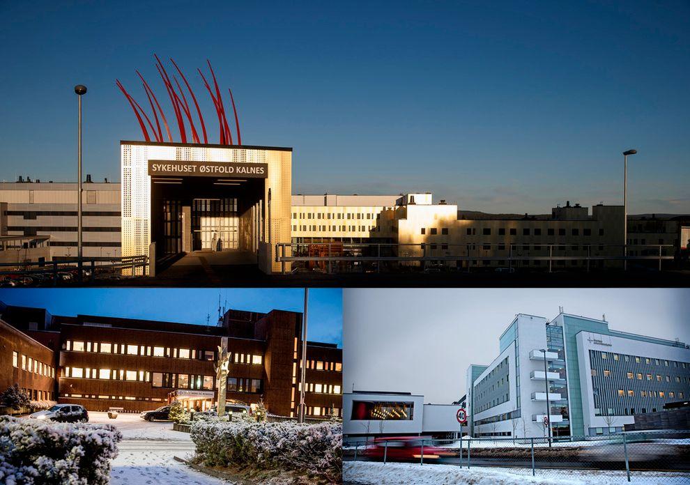 HELSE: Bildet viser Sykehuset i Østfold (øverst); Helse Møre og Romsdal (her representert med Kristiansund sykehus) og Akershus universitetssykehus (Ahus).
