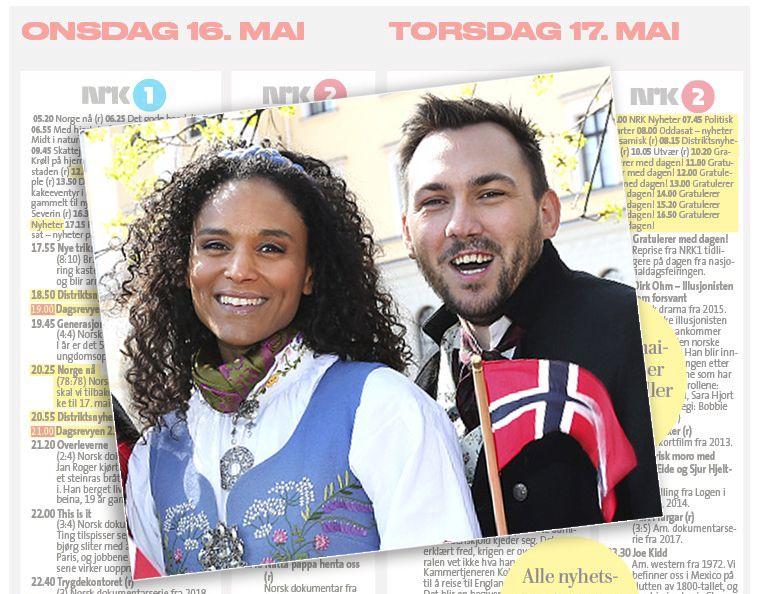 FEIRER TROSS STREIK: Haddy Njie og Dennis Vareide leder den endrede 17. mai-sendingen til NRK-
