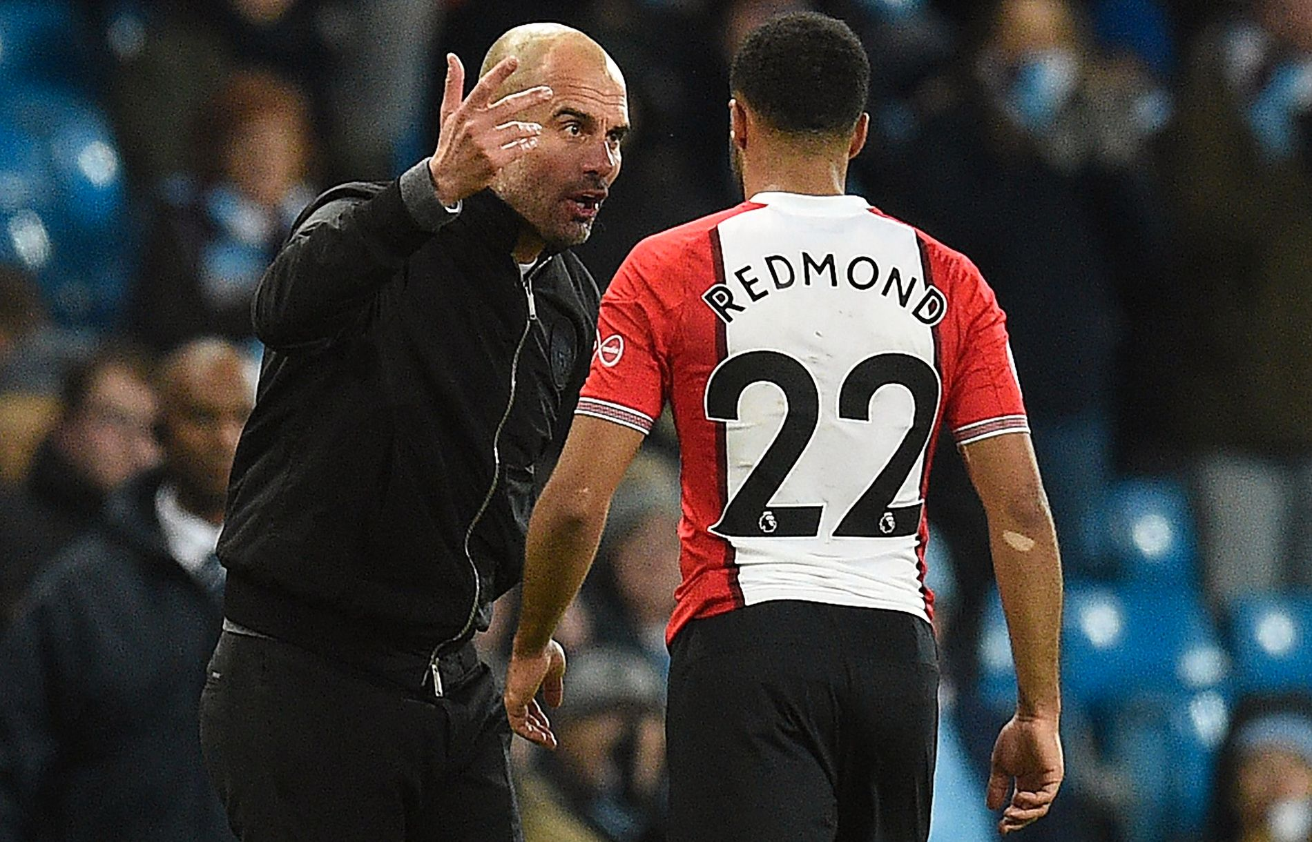INTENS: Pep Guardiola ga noen aggressive beskjeder til Southampton-profil Nathan Redmond etter onsdagens Premier League-kamp.