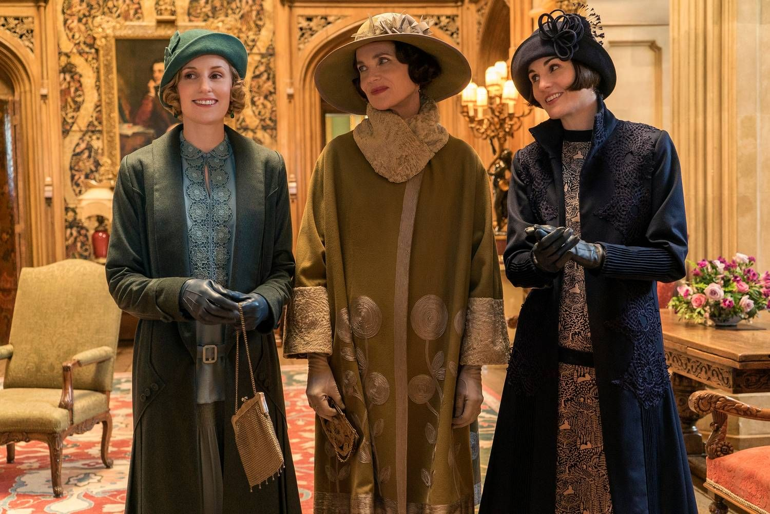 I FILMEN: Fra venstre: Laura Carmichael alias Lady Edith Crawley, Elizabeth McGovern alias Lady Grantham og Michelle Dockery alias Lady Mary Crawley.