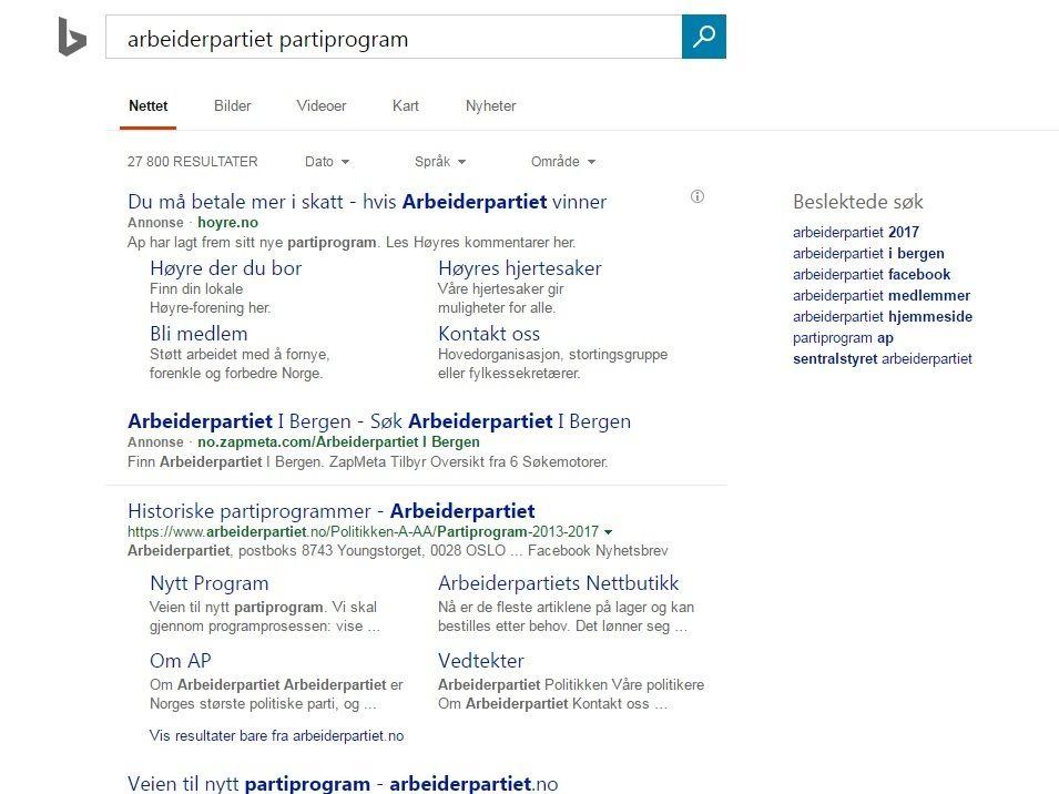 TREFF: Dette er søket Anniken Huitfeldt fra Arbeiderpartiet forsøkte å gjøre. Annonsen fra Høyre ble første treff. Bilde: SKJERMDUMP
