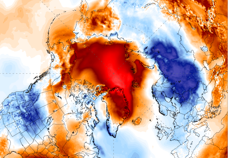 ALT ER GALT: Rødfargen viser områder hvor det er ventet inntil 25 grader høyere temperatur enn normalt – det gjelder nordlige Grønland og nesten hele Polhavet. Legg merke til den kalde blå luften over Sibir som er på vei mot Skandinavia ...