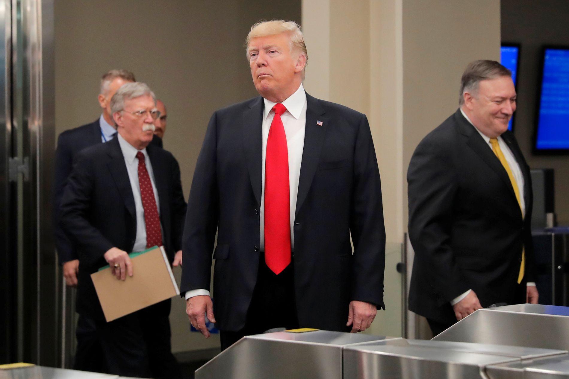 TIL ANGREP: USAs president Donald Trump kom til FN-bygget sammen med utenriksminister Mike Pompeo og sikkerhetsrådgiver John Bolton mandag morgen amerikansk tid.