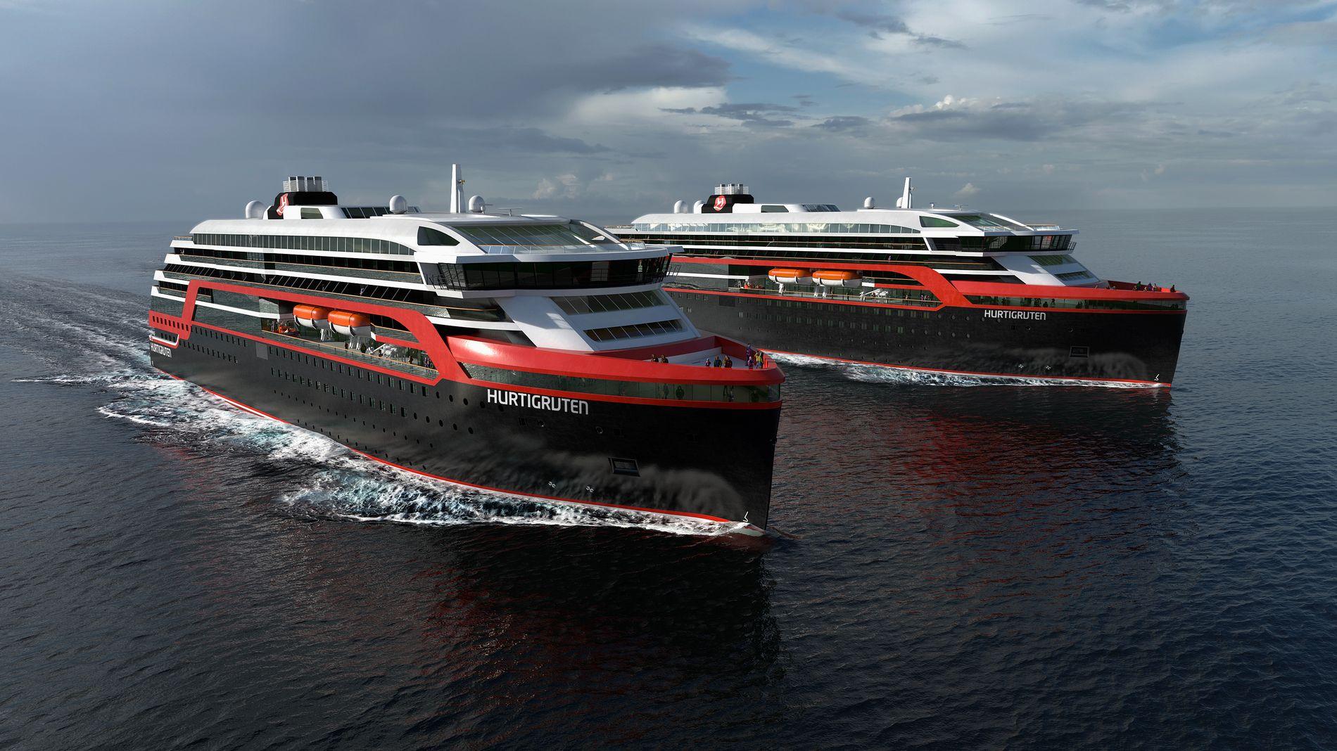 NYE SKIP: Illustrasjonsbilde av to av de nye Hurtigrute-skipene som Kleven i Ulsteinvik skal bygge.