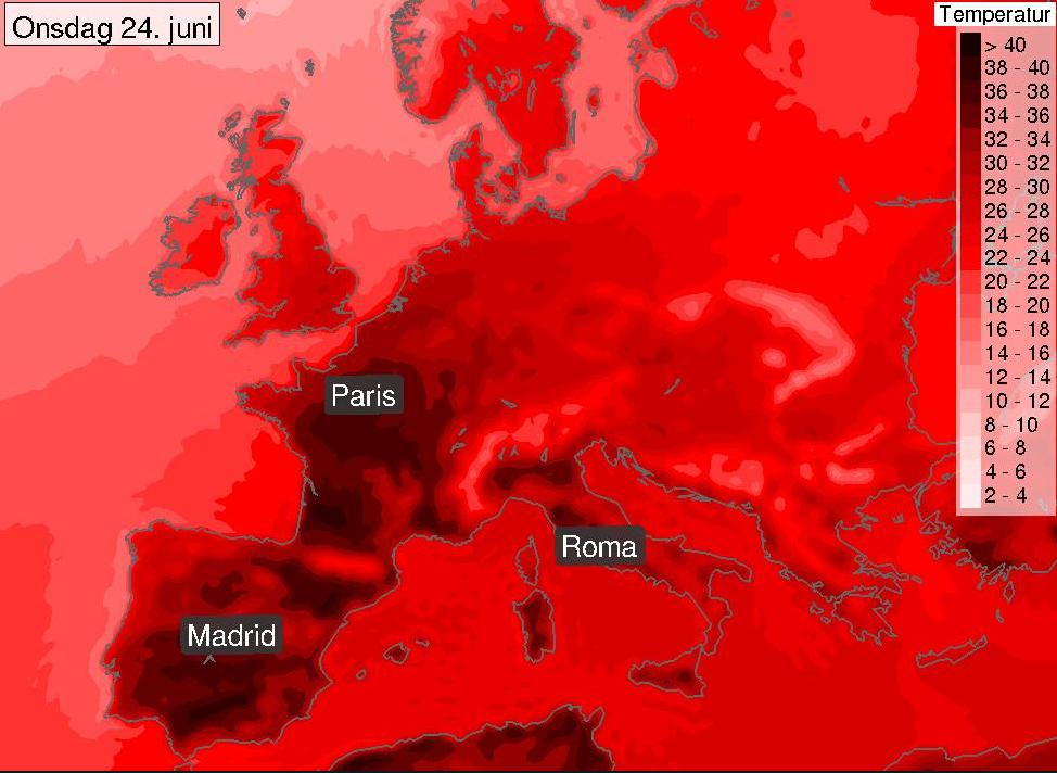 Varmluften som ligger over Spania vil bevege seg over i de nordlige delene av Frankrike. Det kan gi 40 grader i Paris. Det står «Onsdag 24. juni» på bildet, men Meteorologisk institutt skriver på Twitter at det er en skrivefeil. Det skal stå «Onsdag 24. juli».