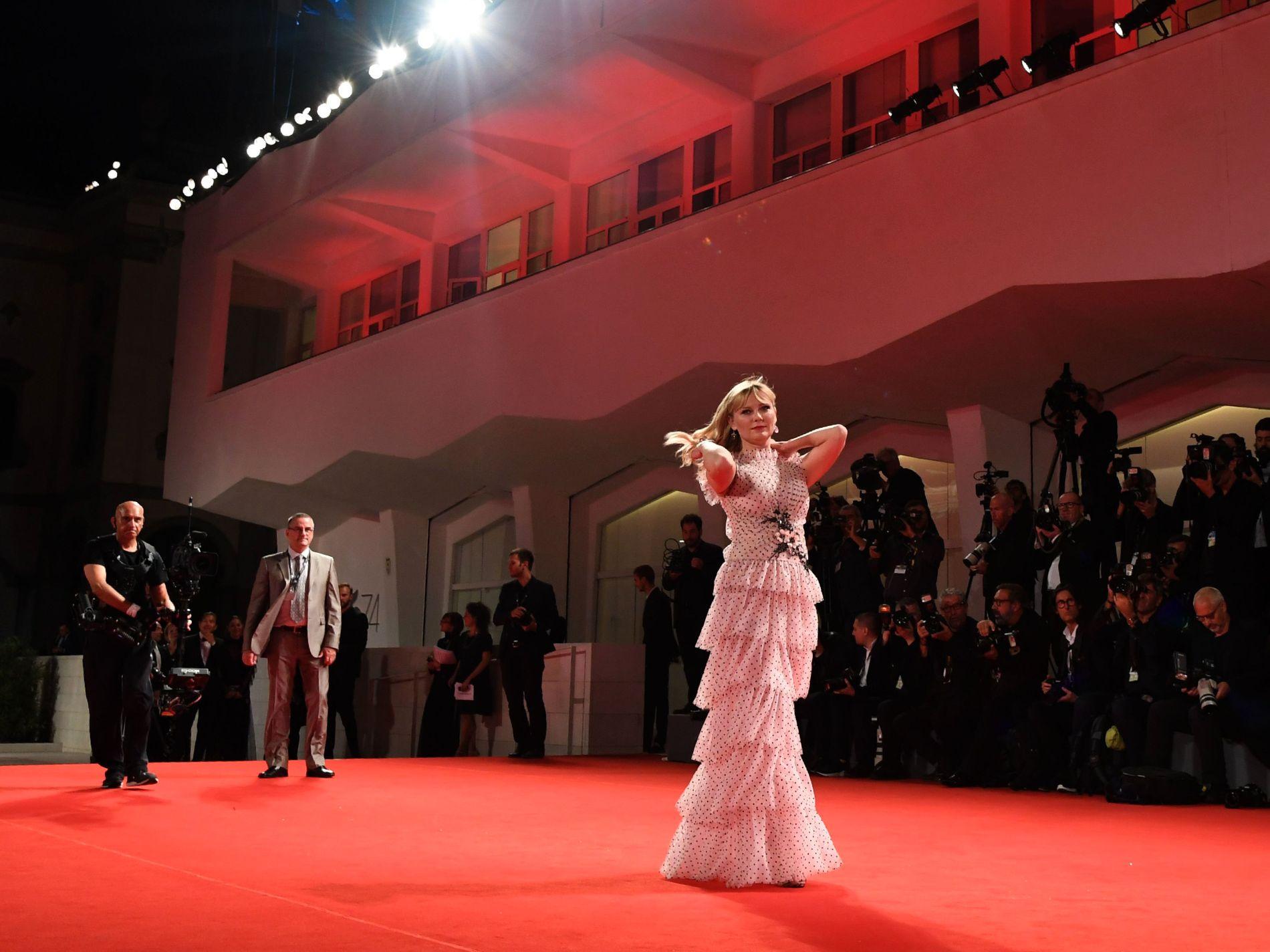 """HACKET: Kirsten Dunst sin iCloud ble også hacket. Her fotografert på premieren til filmen """"Woodshock"""" under Venice Film Festival i 2017."""