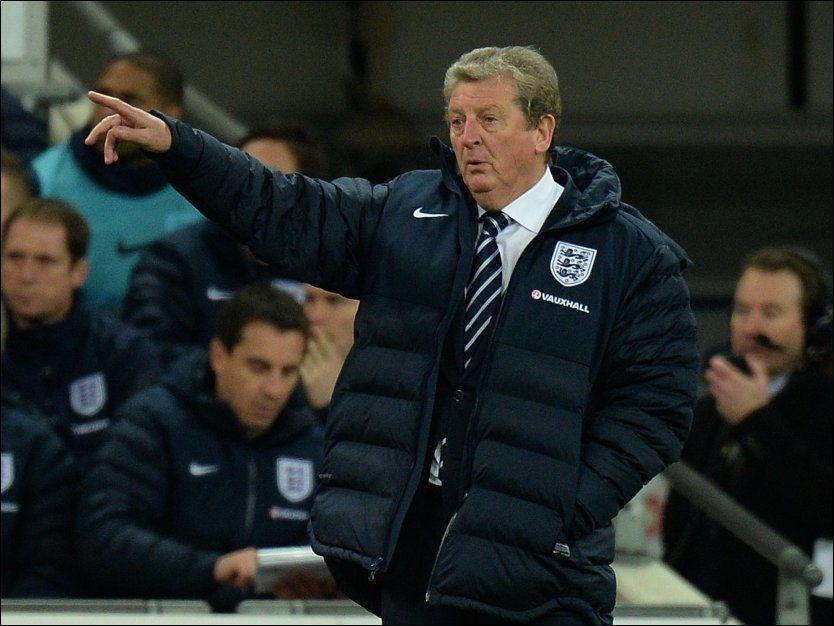 FRYKTLØS: England-manager Roy Hodgson sier han ikke frykter å møte noen lag i VM. Her er han i aksjon under en vennskapskamp mot Tyskland i november. Foto: Pa Photos