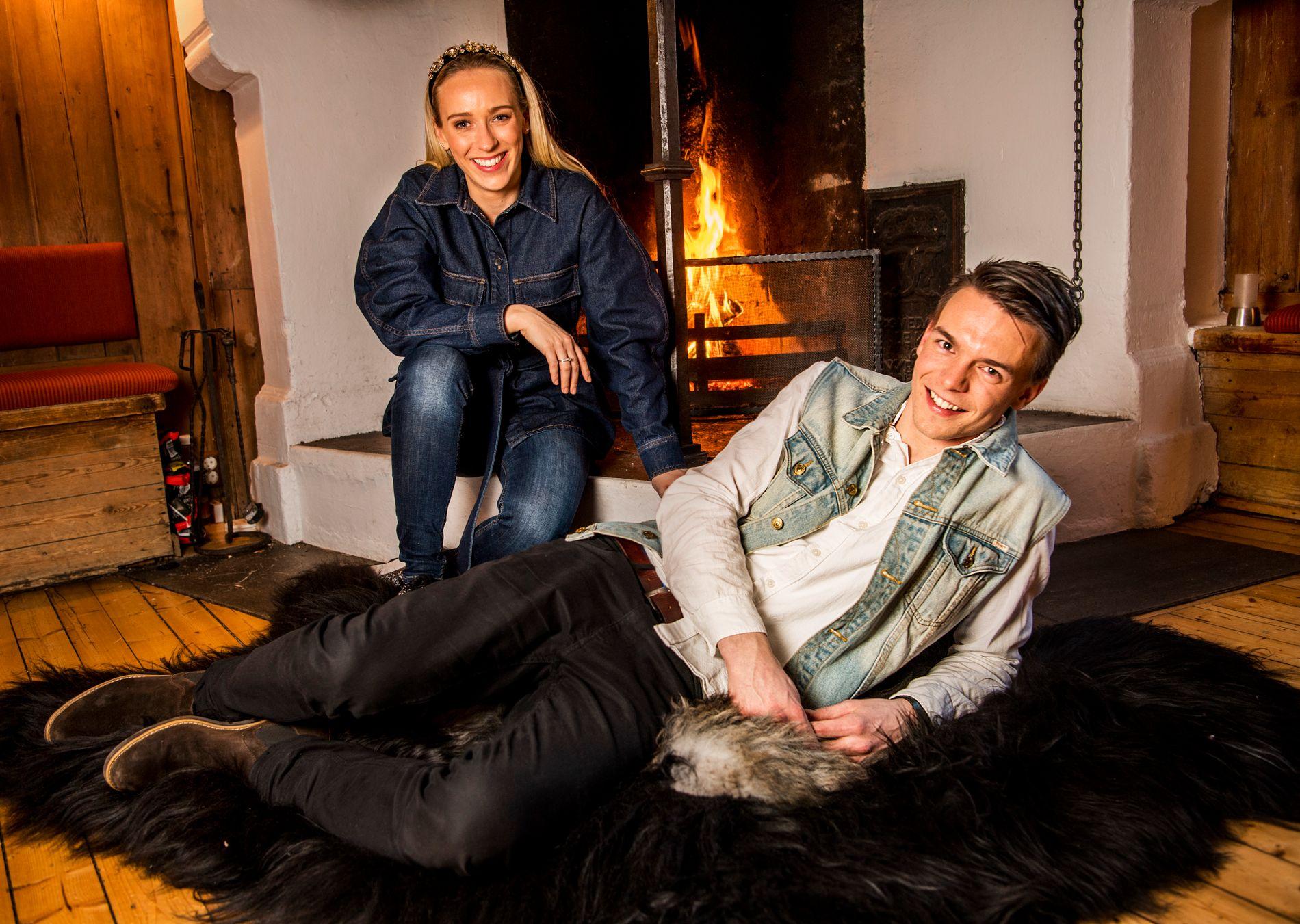 PRØVER IGJEN: Simen Gjølberg, her sammen med Katarina Flatland, fikk ikke helklaff i fjorårets «Jakten på kjærligheten», men nå prøver han seg igjen.