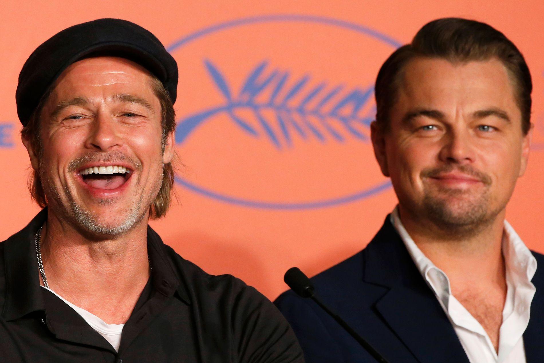 ROS: Både Pitt og DiCaprio skryter av å jobbe med hverandre. Her på pressekonferansen onsdag.