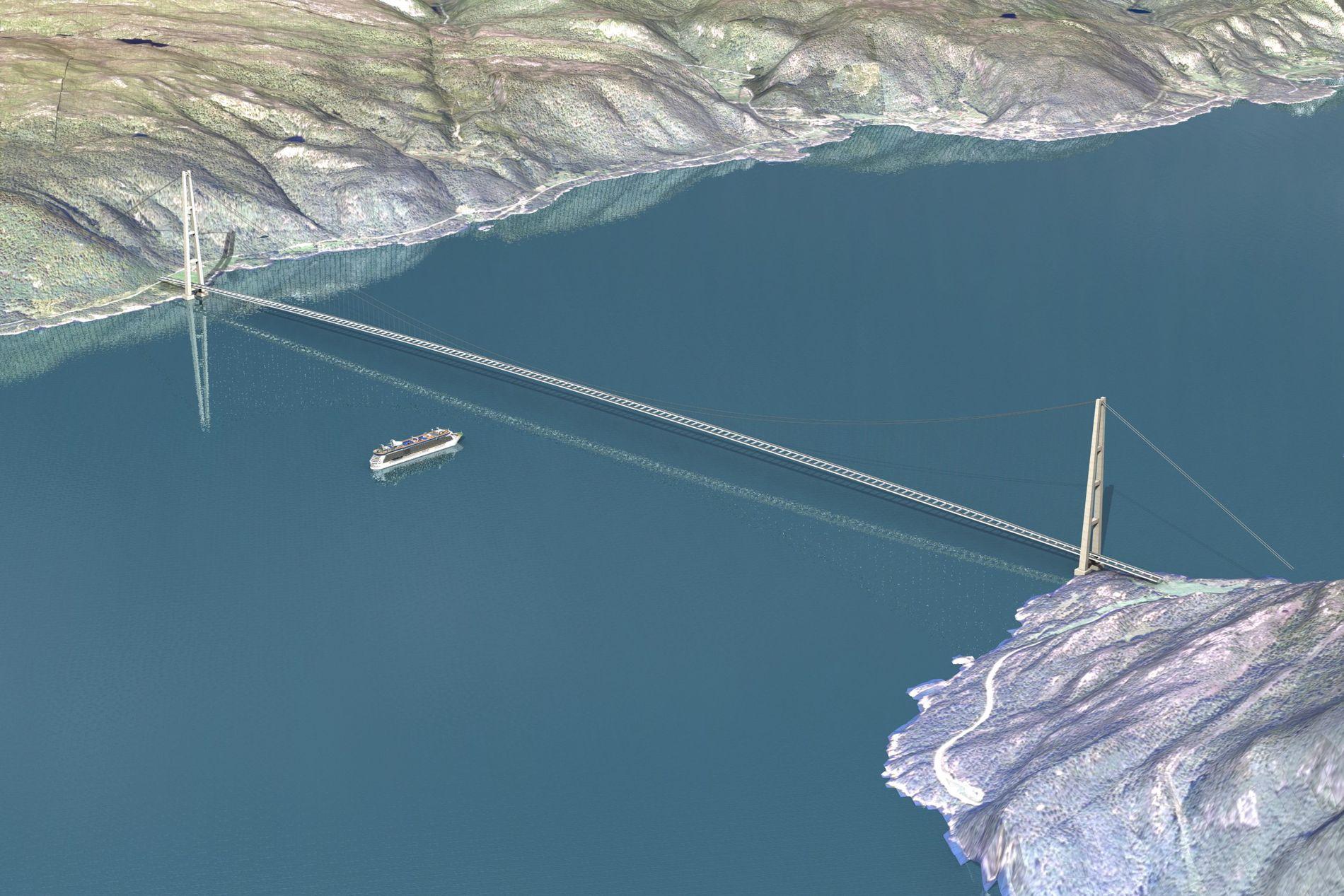 PLANLAGT I EN ÅRREKKE: Den kompliserte og dyre broen over Sognefjorden, trengs kanskje ikke likevel.