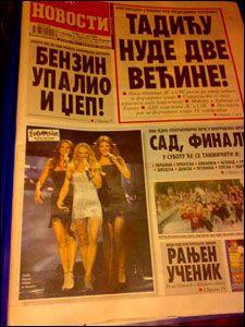 """SERBISK ROS: En av Serbias største tablidaviser har i dag Charlotte på forsiden med bildeteksten """"Fantastisk"""". Foto: Faksimile"""
