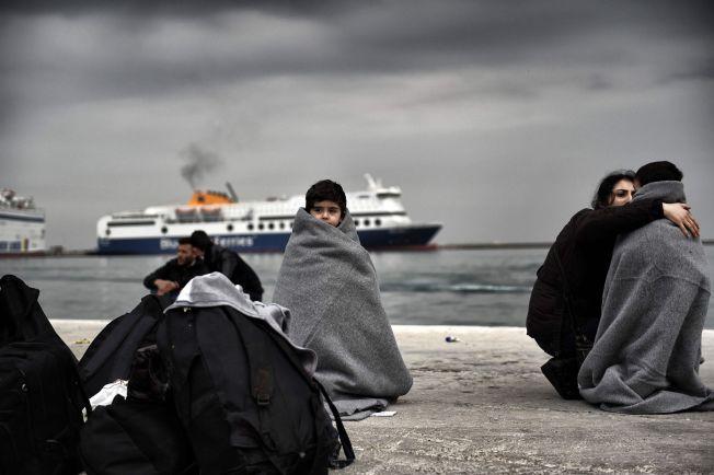 FLYKTNINGRUTE: Barn og kvinner er nå i overtall blant flykntingene. Her fra Lesbos i begynnelsen av mars.