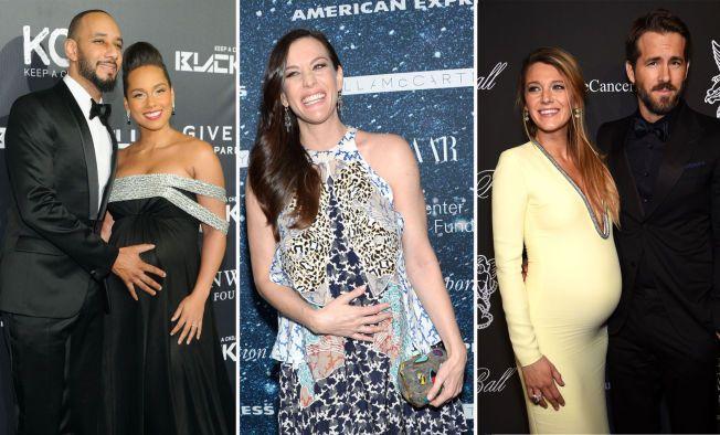 BABYLYKKE: Alicia Keys og ektemannen Swizz Beatz (t.v.), Liv Tyler og skuespillerparet Blake Lively og Ryan Reynolds.