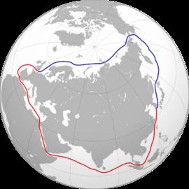 NORDLIGE SJØRUTE: Slik ser den ut (blå), langt kortere enn den sørlige sjørute (rød).