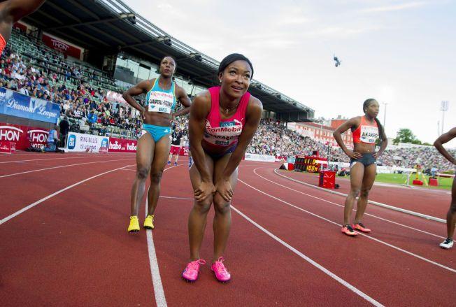 SKUFFET: Ezinne Okparaebo etter 100-meteren på Bislett Games i 22-tiden torsdag kveld.