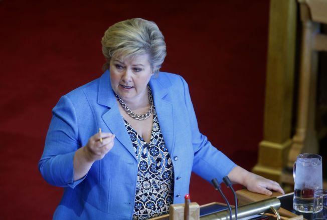 VARSLER MINUS-OPPGJØR: Statsminister Erna Solberg var i Stortingets spørretime onsdag formiddag.