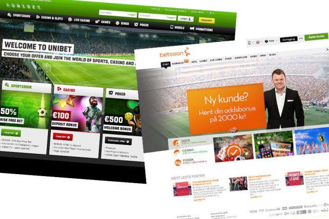 GAMBLING PÅ NETT: Både Betsson og Unibet tilbyr sine kunder en rekke forskjellige spill, men uttaler at de følger nøye med på kundene sine. Foto: Skjermdump