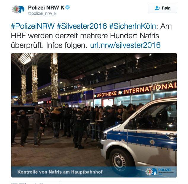 TVITRET OM «NAFRI`ER» : « På togstasjonen er flere hundre Nafri`er kontrollert. Mer info følger.» , skrev Köln-politiet på Twitter på nyttårsaften, til manges forargelse. SKJERMDUMP: Twitter