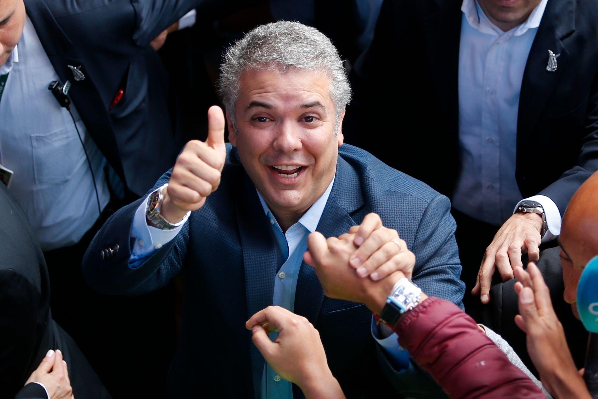 VINNER: Den konservative Ivan Duque vant presidentvalget i Colombia søndag.