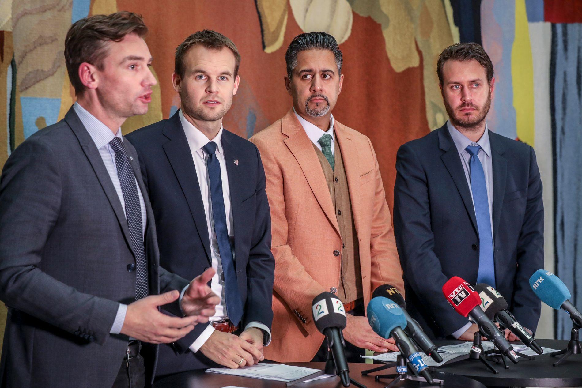 KOM TIL ENIGHET: De fire partiene ble etter flere forhandlingsmøter enige om skisse til statsbudsjettet for 2019.