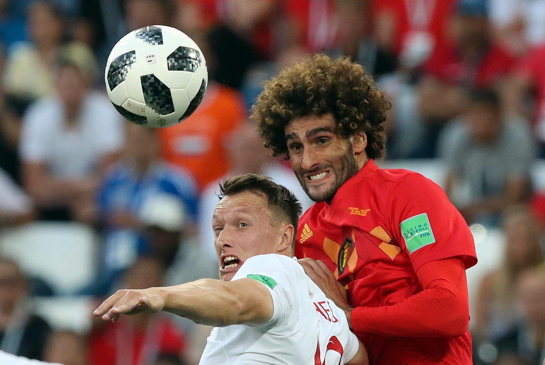 Duell fra den første Belgia - England-kampen 28 juni - og duell med to Manchester United-lagkompiser Phil Jones og Marouane Fellaini.