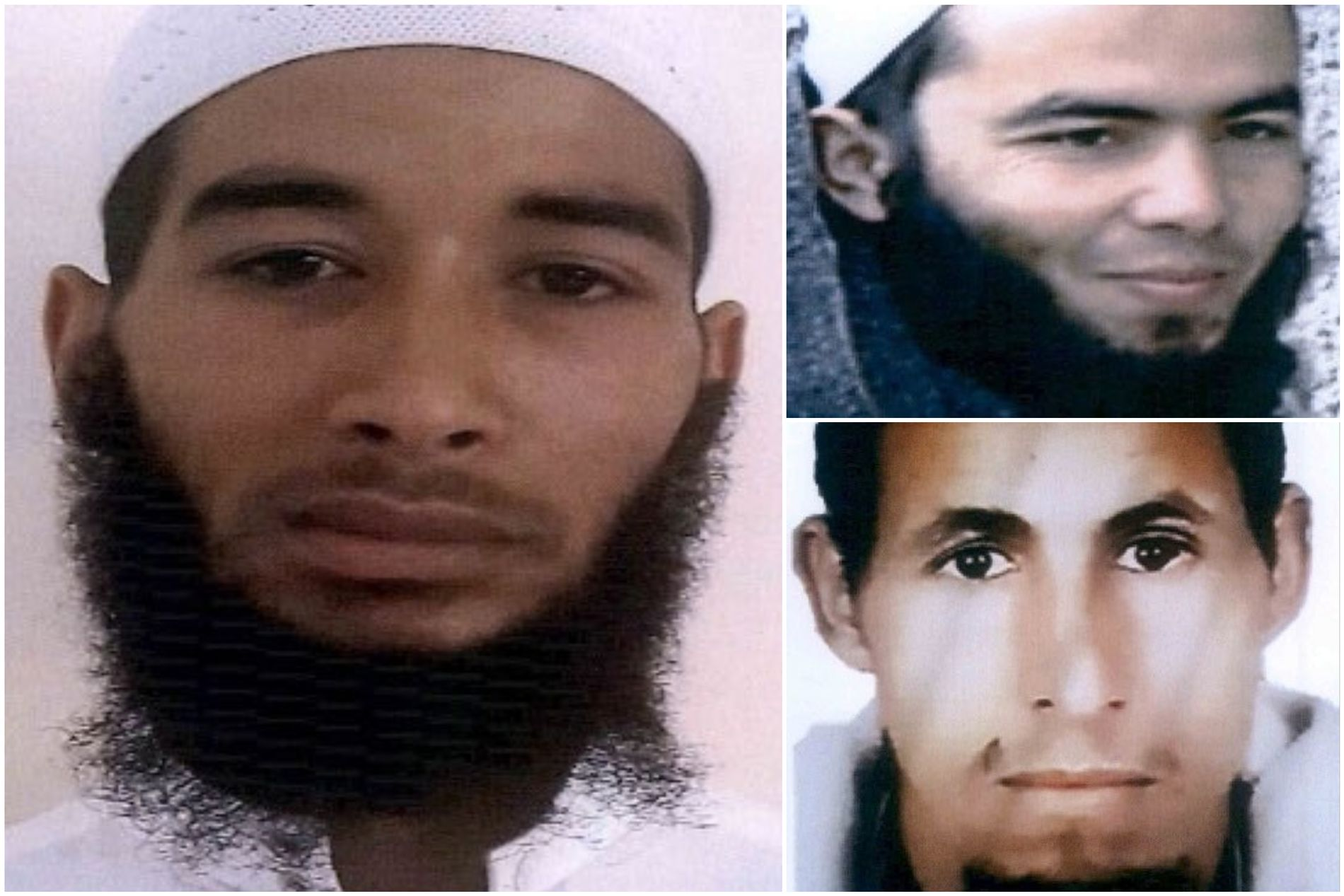 ETTERSØKT: VG får opplyst at disse tre mennene er ettersøkt i forbindelse med dobbeltdrapet. Mennene, som skal være identifiserte, jaktes nå over hele Marokko.