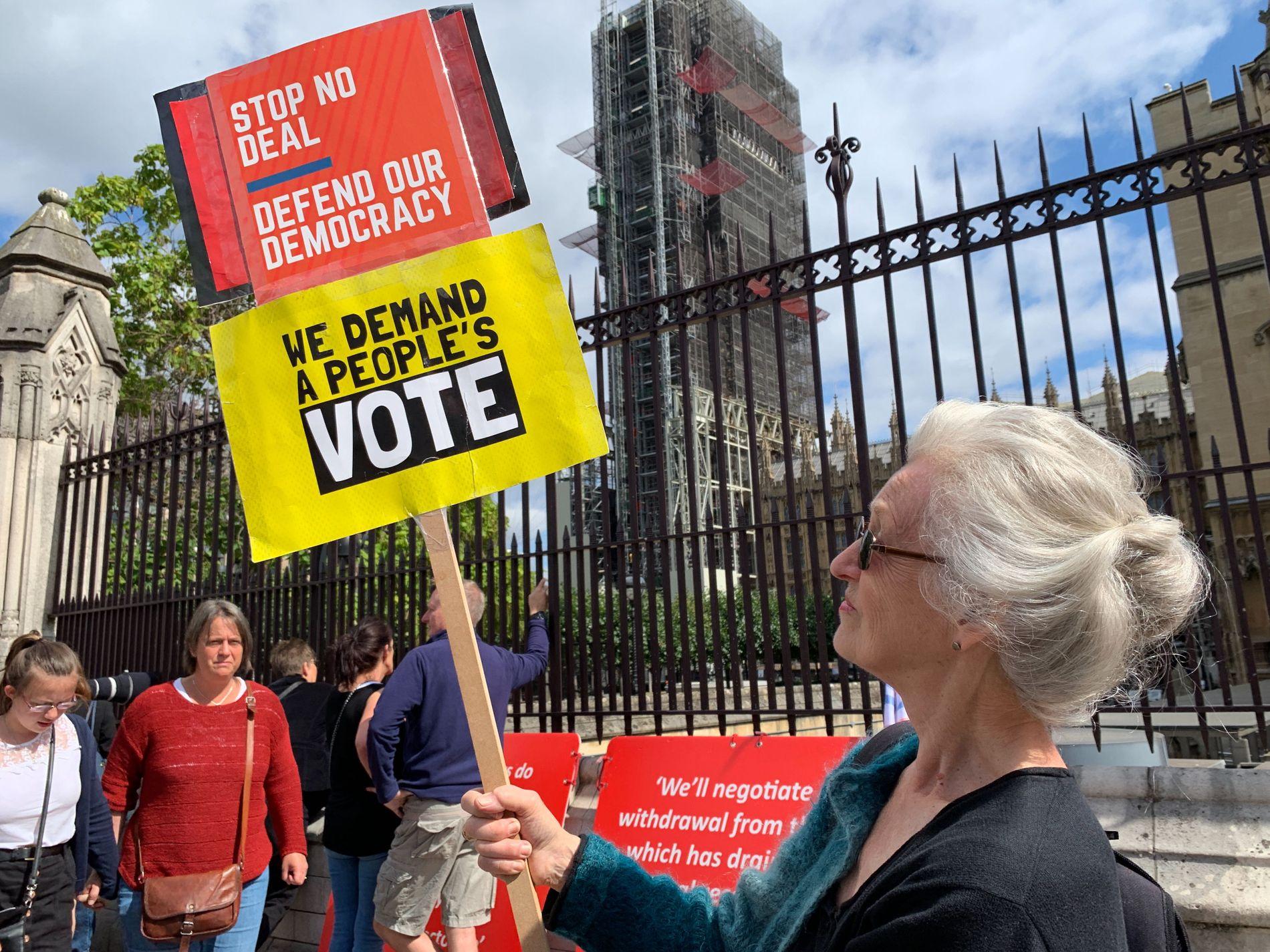 TILREISENDE: Rosalin (77) har reist fra Brighton til London for å demonstrere.