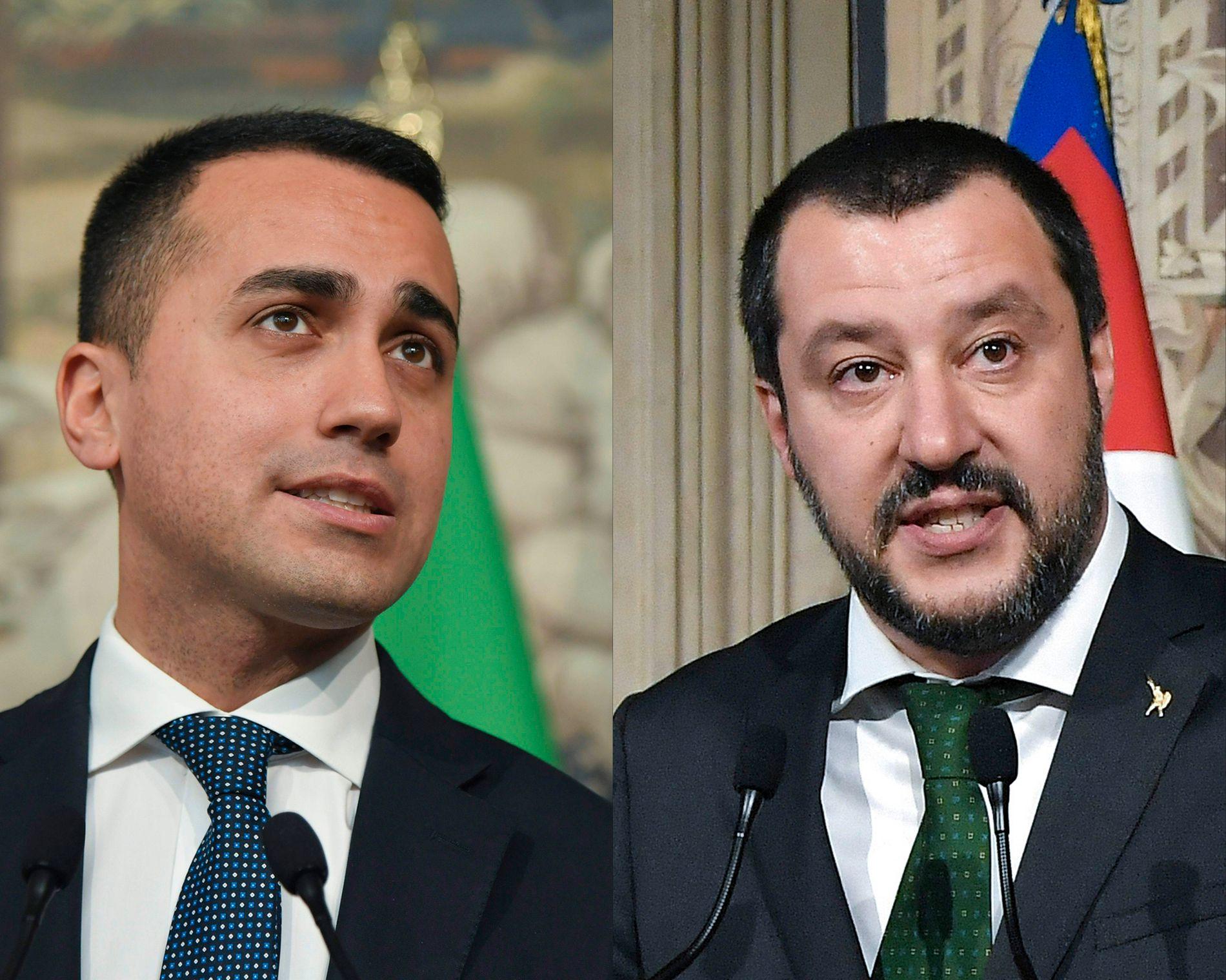 GÅR SAMMEN: Leder av Femstjernersbevegelsen, Luigi Di Maio, (t.v) og leder av Ligaen, Matteo Salvini, skal lede Italia sammen.
