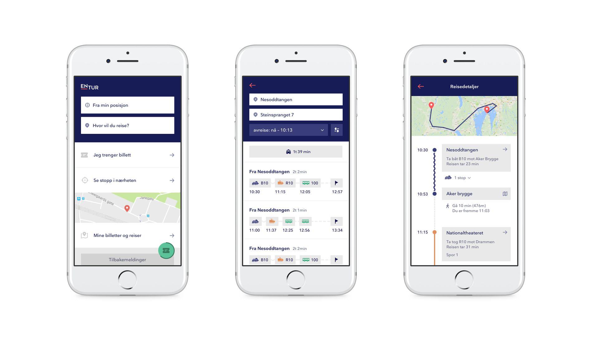 1,2,3: Her skal du reise fra Nesoddtangen til Vikersund og appen gir deg flere alternativer og tidspunkter for turen.