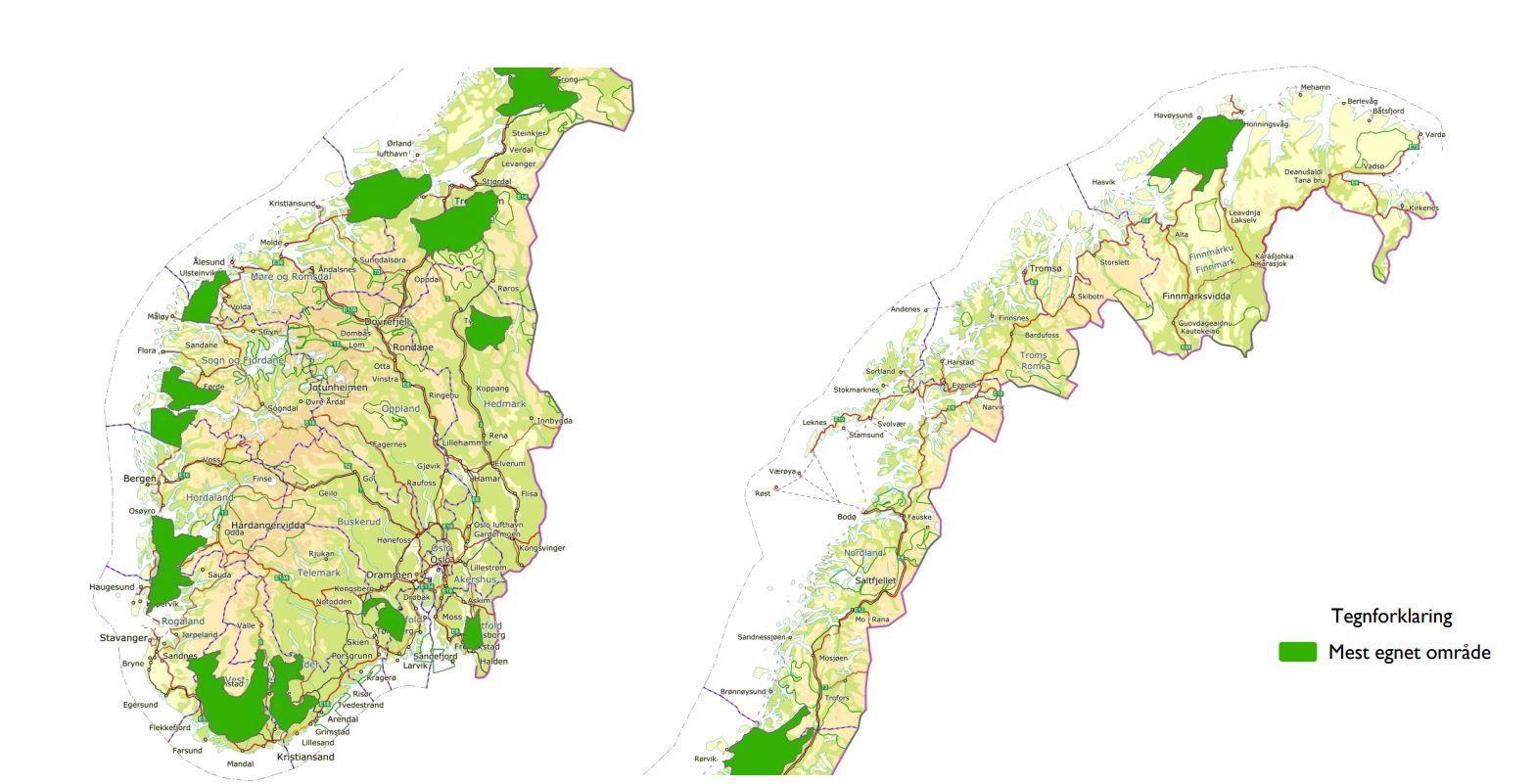 AKTUELLE: Norges vassdrags- og energidirektorat har pekt ut disse områdene som aktuelle for vindkraft på land.