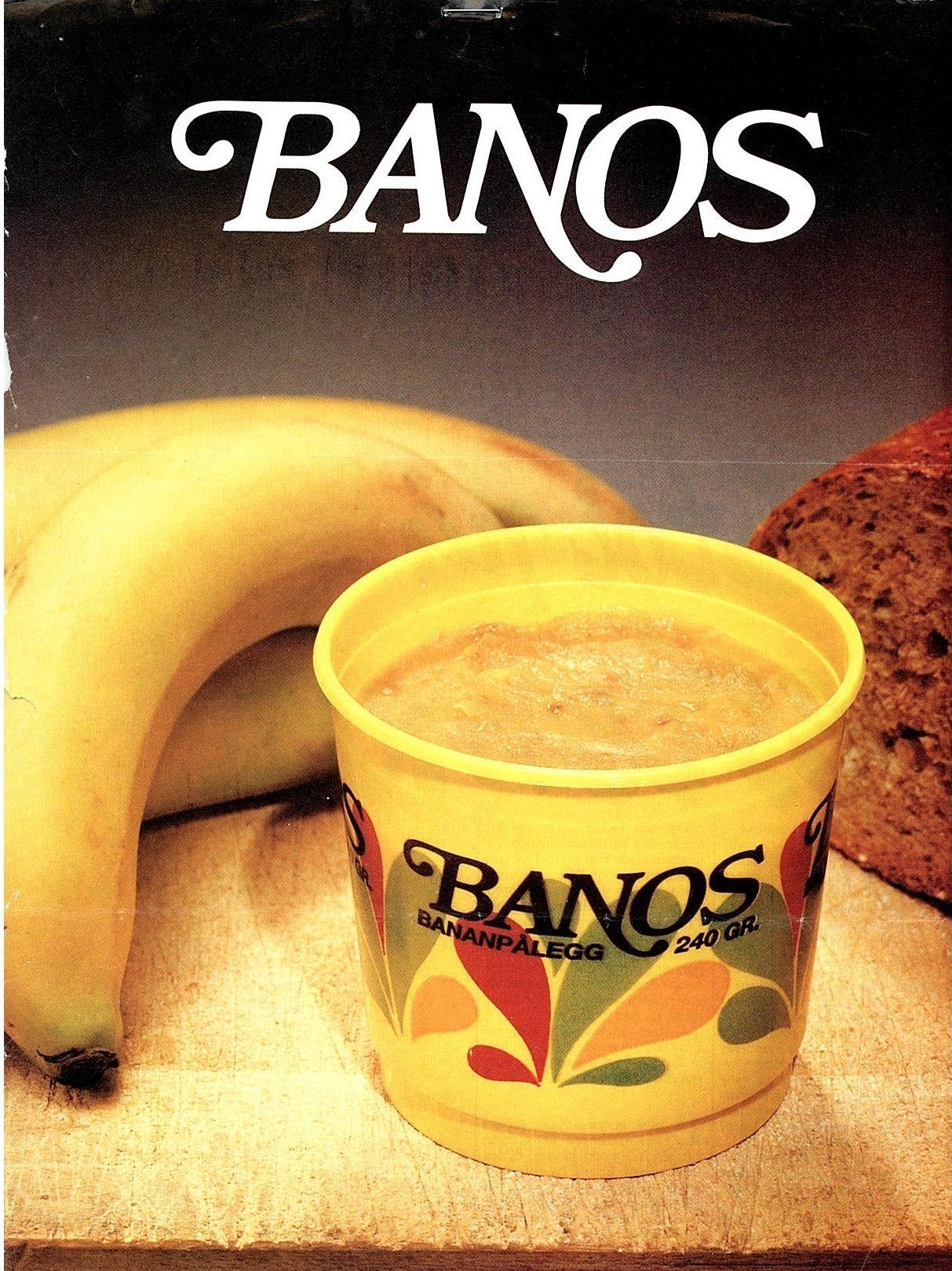 BANANMOS: Bananer utgjør i overkant av 30 prosent av pålegget Banos. Bananene skrelles fortsatt for hånd. Faksimile av en tidligere reklame for produktet.