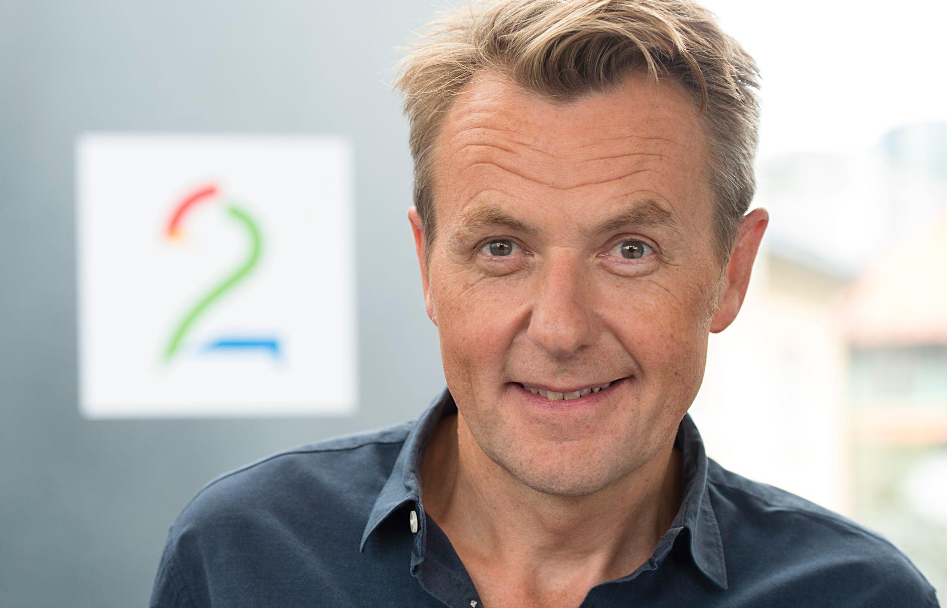 STUPER: Fredrik Skavlan på TV2s høstlansering i Grieghallen.