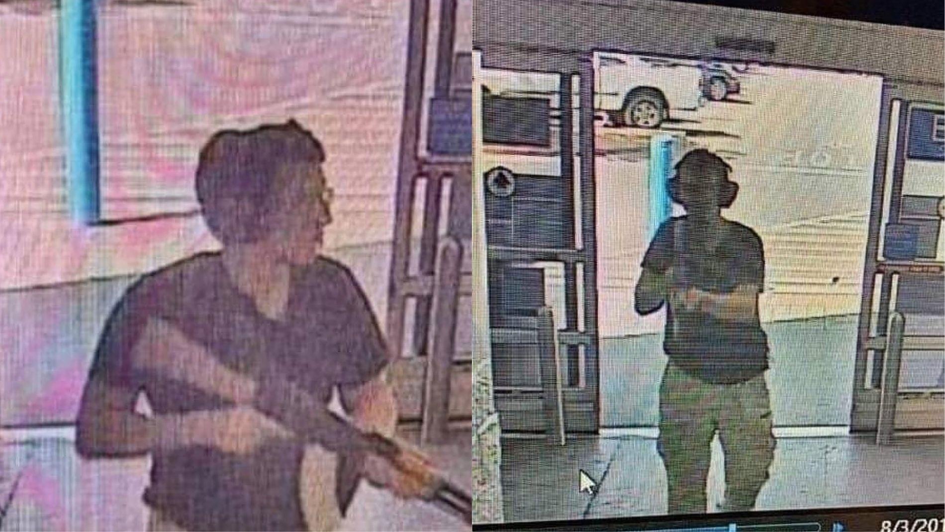DRAPSMANN: Bildene er fra et overvåkingskamera på kjøpesenteret da Patrick Crusius gikk til angrep.