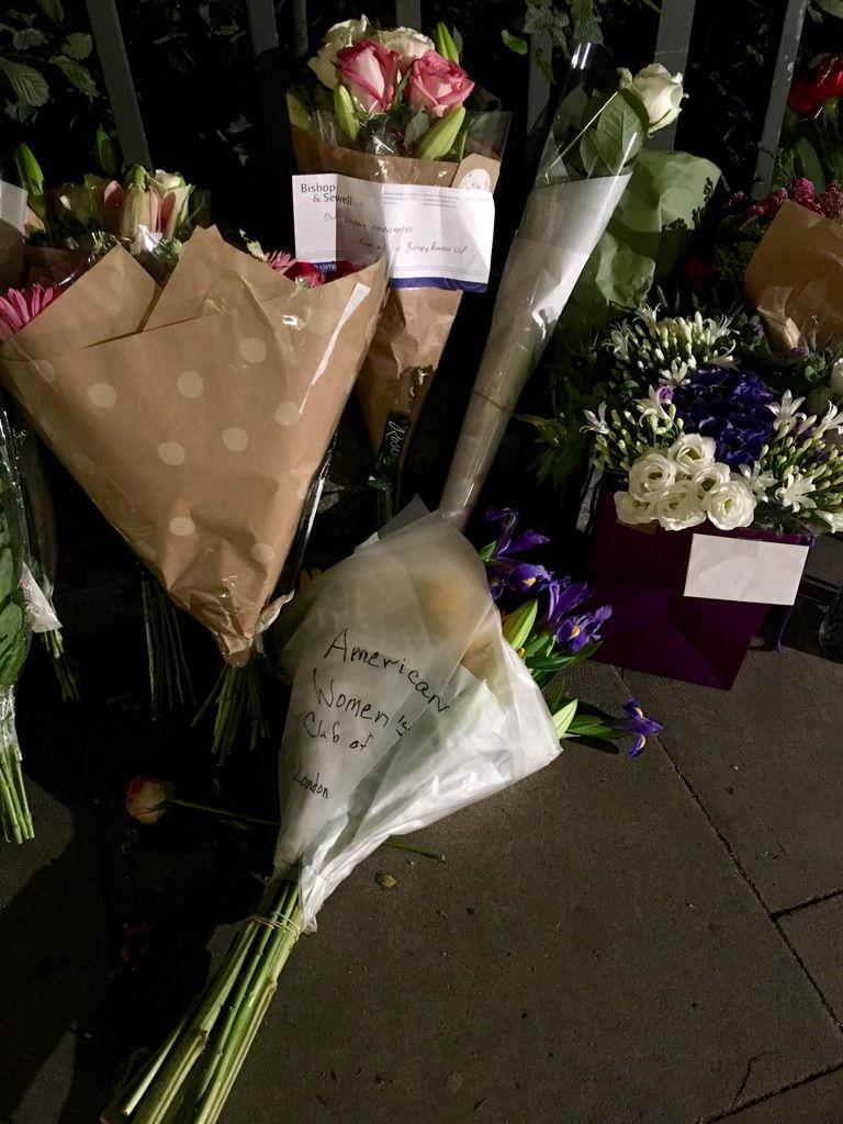 HENDRET: Den amerikanske kvinneklubben i London ville også hedre sin landskvinne, Darlene Horton som ble et tilfeldig offer for kvivangrepet i Russell Square onsdag kveld.