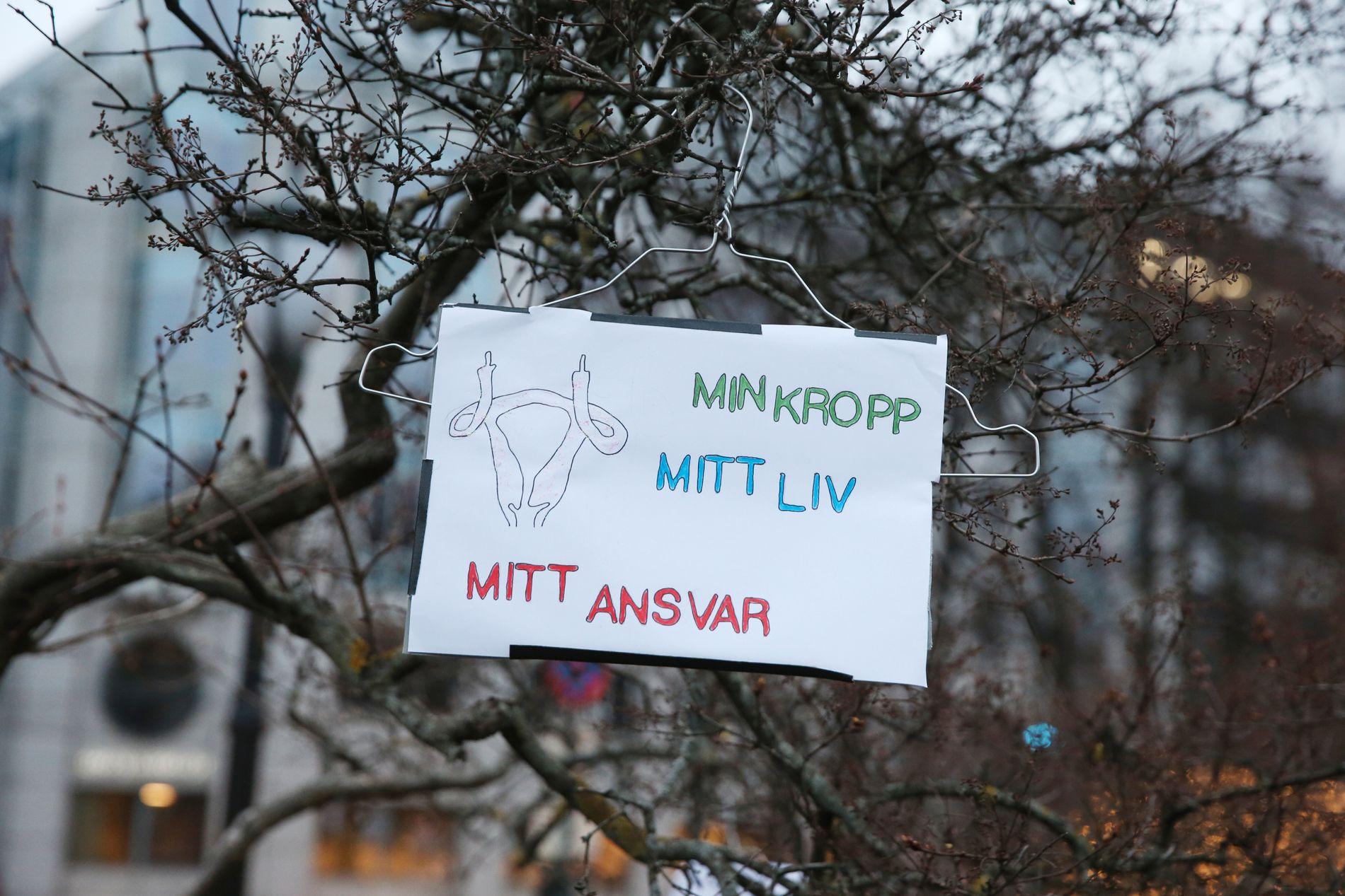 SLAGORD: Slagord som dette kunne høres under lørdagens abortdemonstrasjon i Oslo.